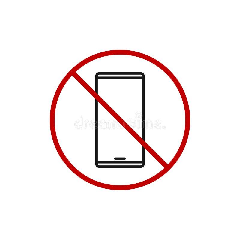 Niedozwolony telefon Używa znaka Żadny Smartphone ikona Wektorowa Prosta nowożytna ilustracja ilustracja wektor
