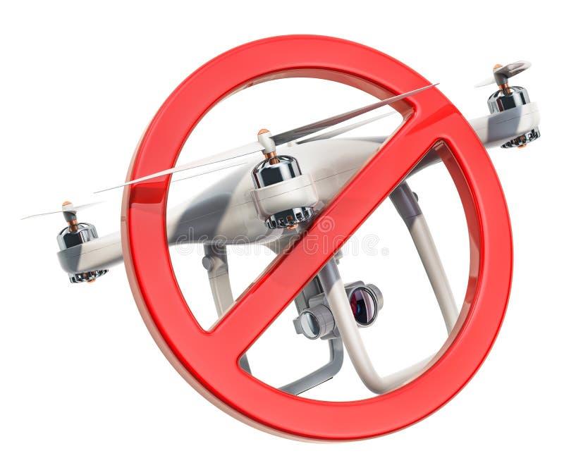 Niedozwolony znak z trutnia quadrocopter, 3D rendering ilustracja wektor
