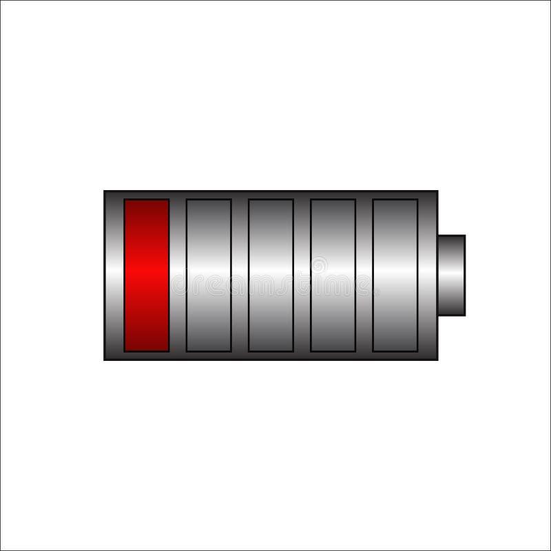 Niedrige Batterie Batterieaufladungs-Statusanzeige Energiebatterieillustration auf lokalisiertem Hintergrund Gesamtentladung Vekt lizenzfreie abbildung