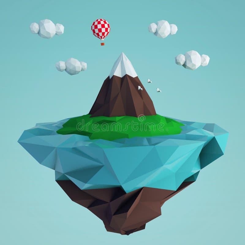 Niedrige fying Polyinsel mit einem Berg und einem Ballon stock abbildung