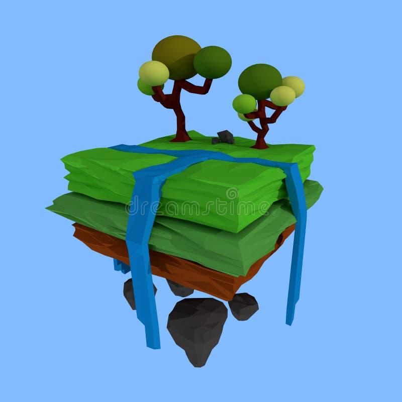 Niedrige Poly-Wiedergabe eines wenigen Geländes mit Bäumen, Illustration 3d stock abbildung