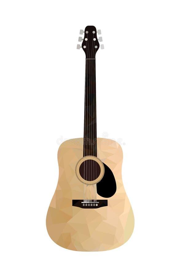 Niedrige Polyakustikgitarre auf einem weißen Hintergrund Getrennt stockfotografie
