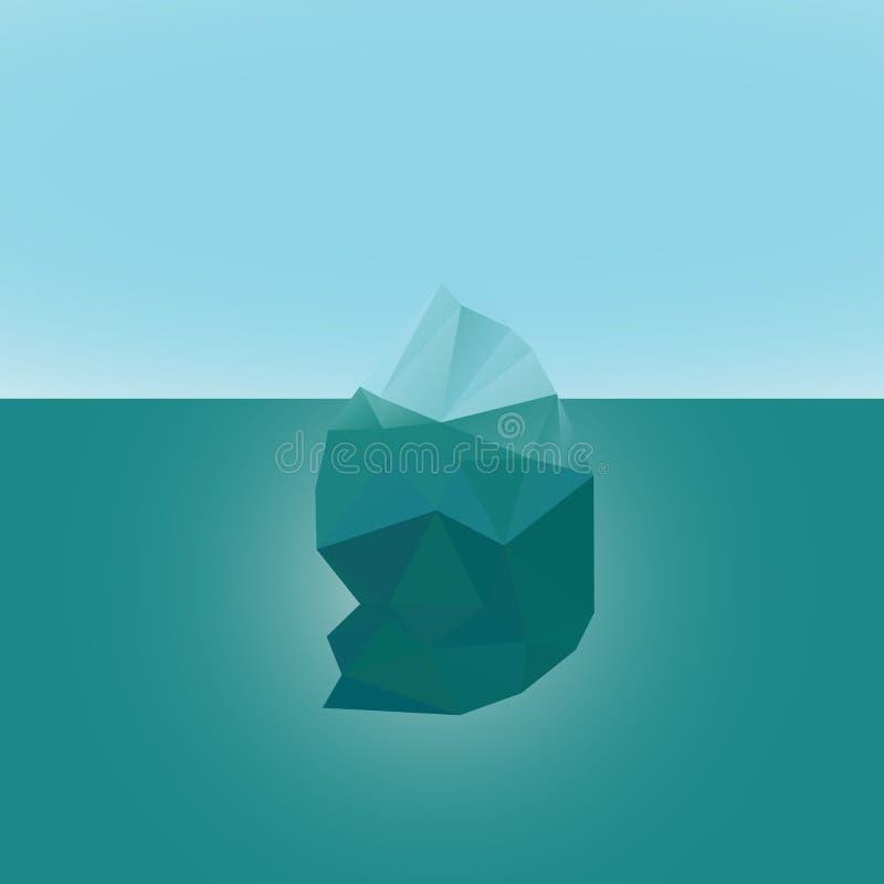 Niedrige Polyart der polygonalen Eisberggletscherlandschaftsvektor-Illustration Dreieckdesign Abbildung kann als Hintergrund benu stock abbildung