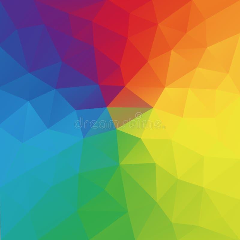 Niedrige Polyart des geometrischen zerknitterten dreieckigen Hintergrundes der Farbrad-Zusammenfassung vektor abbildung