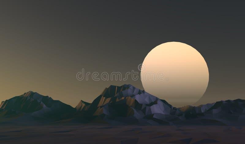 Niedrige Polygebirgslandschaft bei Sonnenuntergang stock abbildung