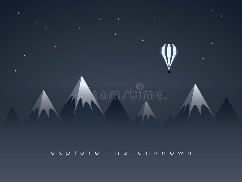 Niedrige Polygebirgsnachtlandschaft und -fliegen steigt Vektorhintergrund mit Sternen im Himmel im Ballon auf Symbol der Erforsch lizenzfreie abbildung