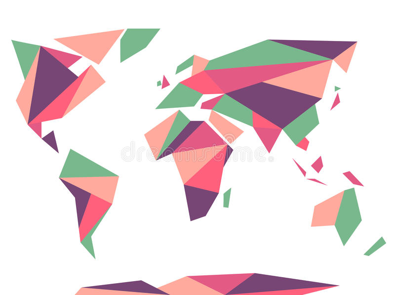 Niedrige polygonale Origamiartweltkarte Abstrakte vektorschablone vektor abbildung