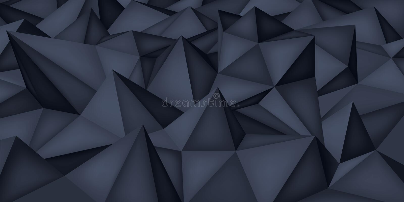 Niedrige Polygonformen, dunkler Hintergrund, schwarze Kristalle, Dreieckmosaik, kreativer Origami tapezieren, Schablonenvektorent stock abbildung