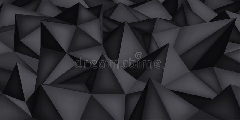 Niedrige Polygonformen, dunkler Hintergrund, schwarze Kristalle, Dreieckmosaik, kreativer Origami tapezieren, Schablonenvektorent lizenzfreie abbildung