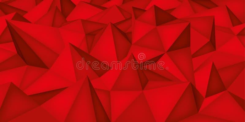 Niedrige Polygonformen, roter Hintergrund, Kristalle, Dreieckmosaik, kreativer Origami tapezieren, Schablonenvektorentwurf vektor abbildung