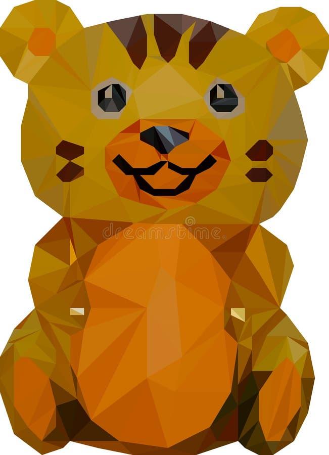 Niedrige Polyillustration des gelben Tigers stock abbildung