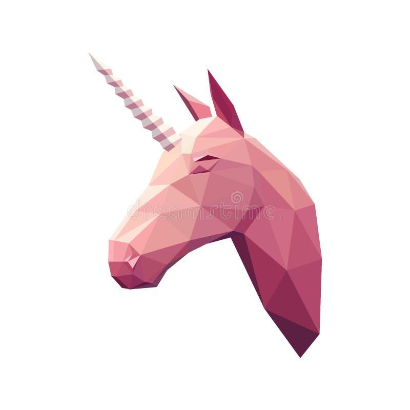 Niedrige Polyillustration unicorn stock abbildung