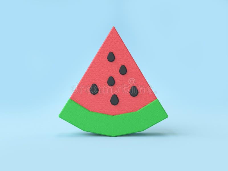 Niedrige Polykarikaturartwassermelone 3d, die blauen Hintergrund überträgt stock abbildung