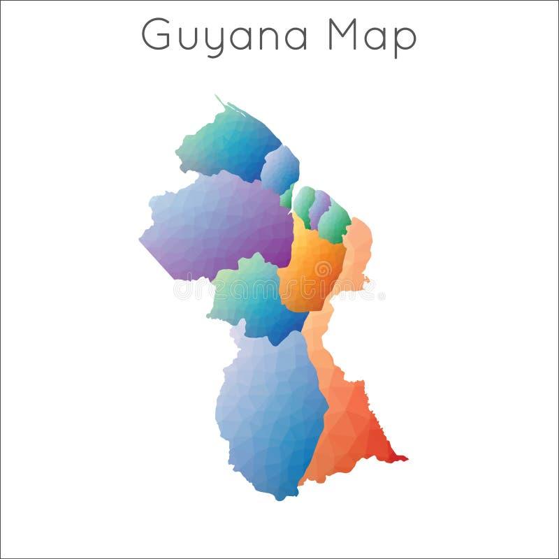 Niedrige Polykarte von Guyana vektor abbildung