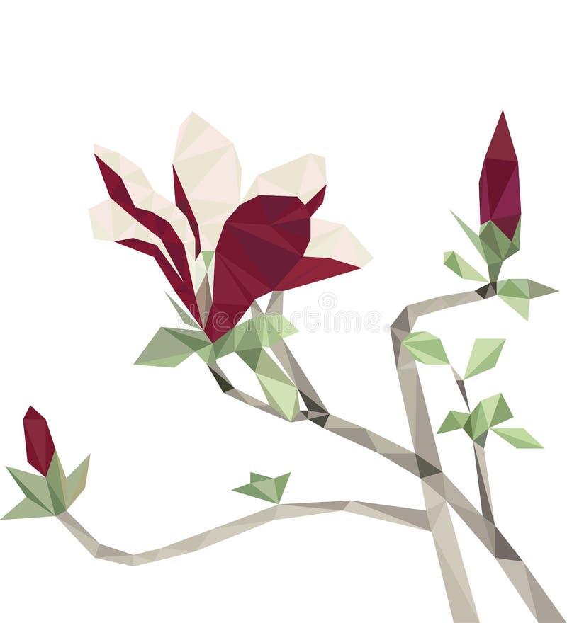 Niedrige rote Magnolienpolyblumen lizenzfreie abbildung