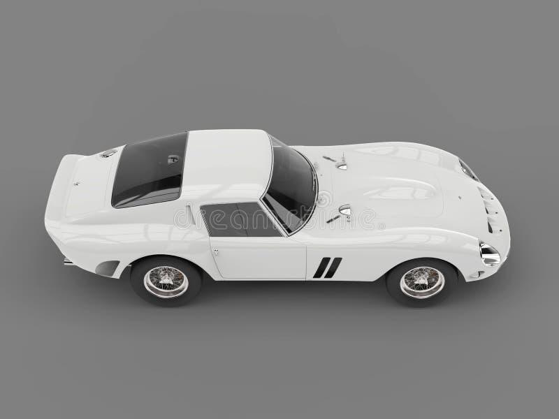 Niedrige weiße kühle Weinlese trägt Motor- Seitenansicht des hohen Winkels zur Schau lizenzfreie abbildung