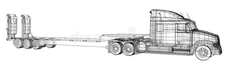 Niedriger Bett LKW-Anhänger Abstrakte Zeichnung Draht-Rahmen Format EPS10 Vektor geschaffen von 3d stock abbildung
