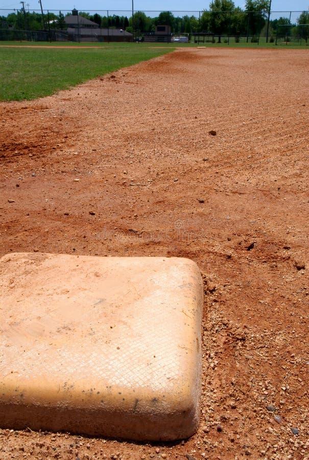 Niedriger Beutel des Baseballs auf Innenfeld stockbilder