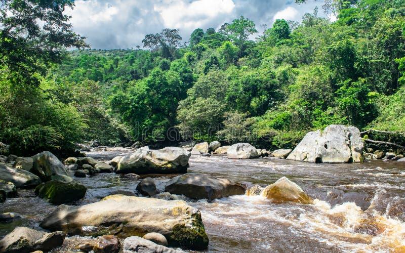 Niedriger Kurs von Sumapaz-Fluss ?berschreiten durch Pandi A stockbild