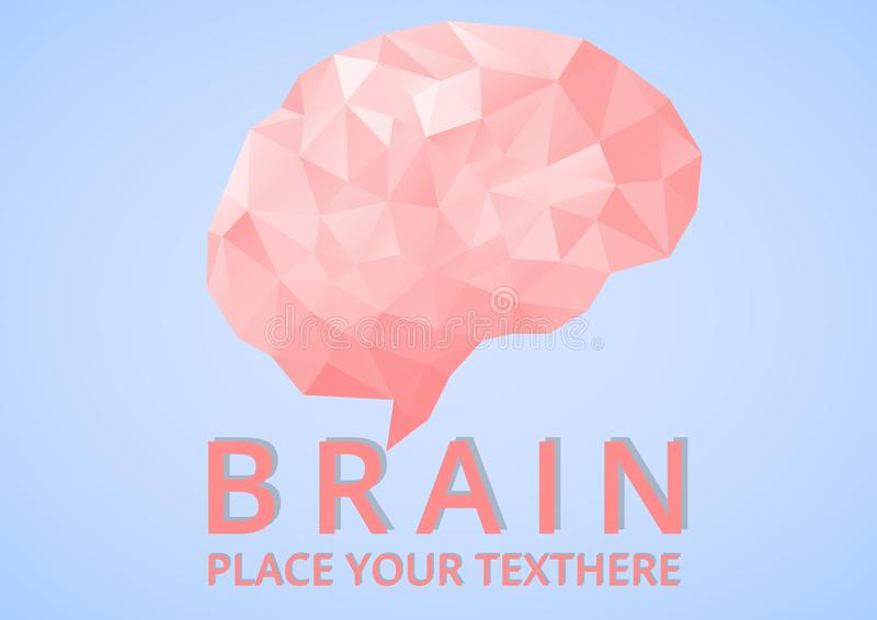 Niedriger Poly-Brain Logo geometrisch stock abbildung