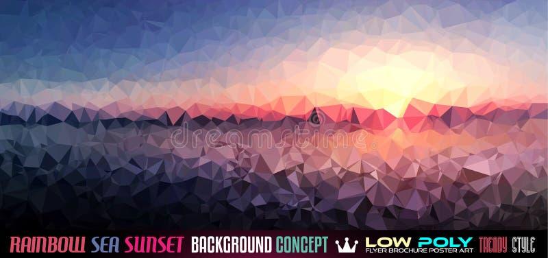 Niedriger Poly-tSea Sonnenuntergang-Kunsthintergrund für Ihren Flieger