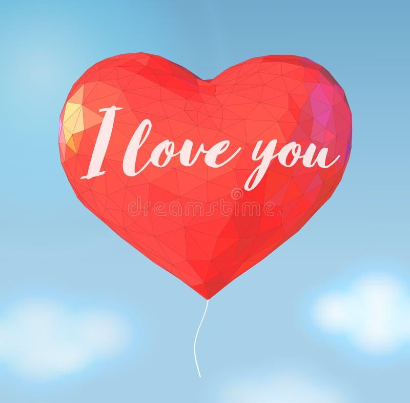 Niedriger Polyballon in der Herzform für Valentinsgrußgruß vektor abbildung