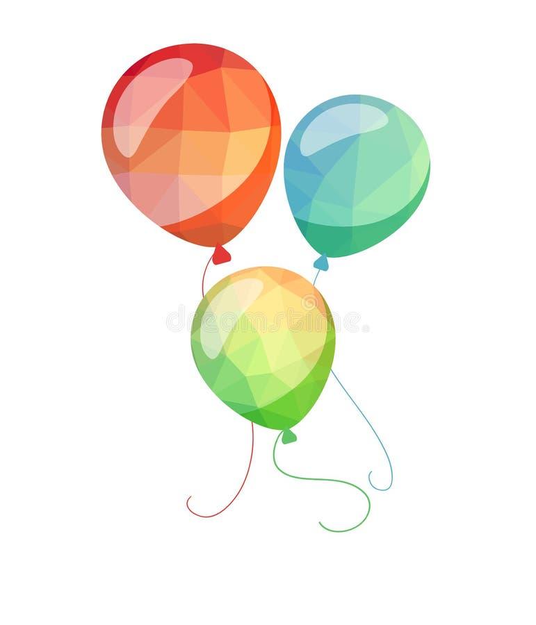Niedriger Polyfeiertag steigt Grußkarte im Ballon auf Rote blaue und grüne Ballone stock abbildung