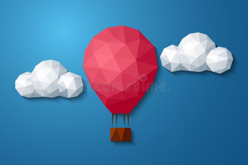 Niedriger polygonaler Luftballon im bewölkten Himmel lizenzfreie abbildung