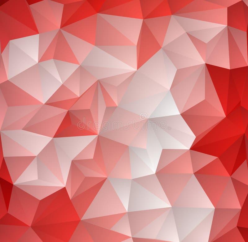 Niedriger Polykristallhintergrund des hellroten Vektors Polygondesignmuster Niedrige Polyillustration stock abbildung
