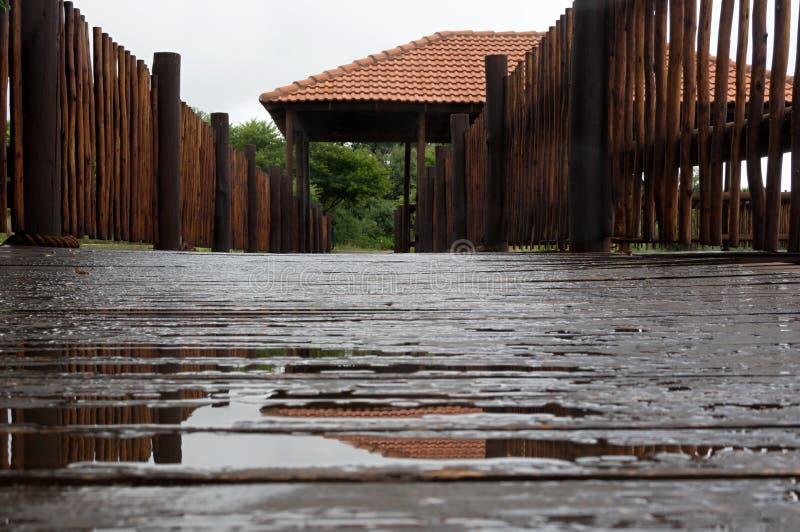 Niedriger Winkel auf nasser Anlegestelle stockbilder