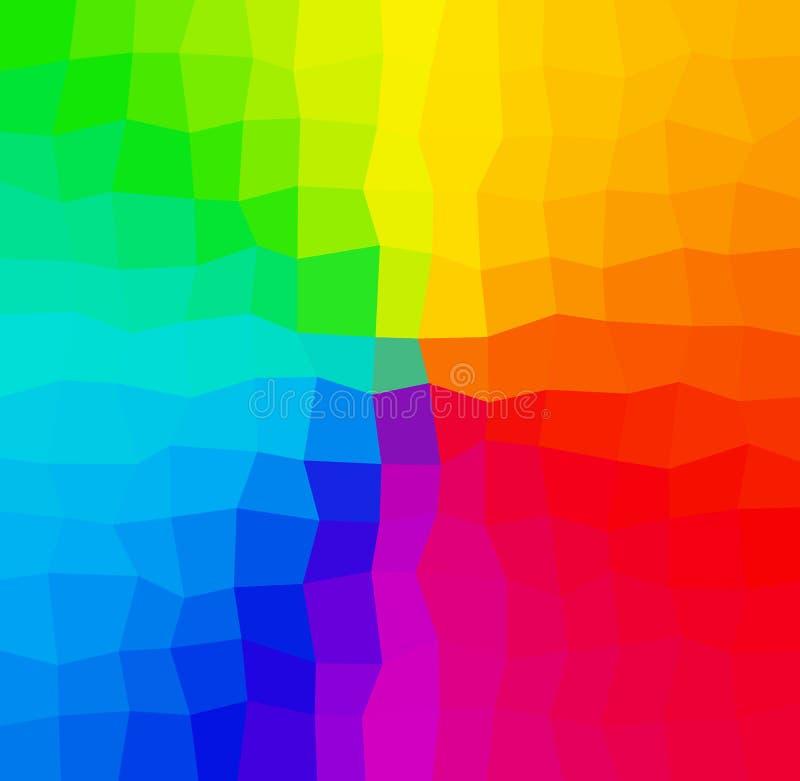 Niedriges backrgound Polygon des abstrakten Mosaiks des Regenbogens im Spektrum, Regen lizenzfreie abbildung