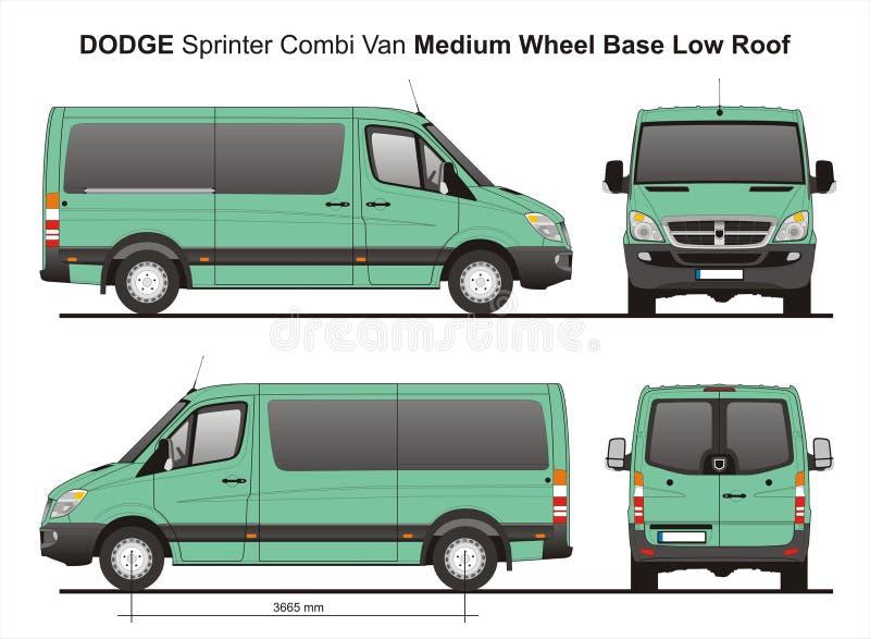 Niedriges Dach Combi Van 2010 Dodge-Sprinter-MWB stock abbildung