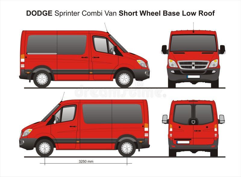 Niedriges Dach Combi Van 2010 Dodge-Sprinter-SWB lizenzfreie abbildung