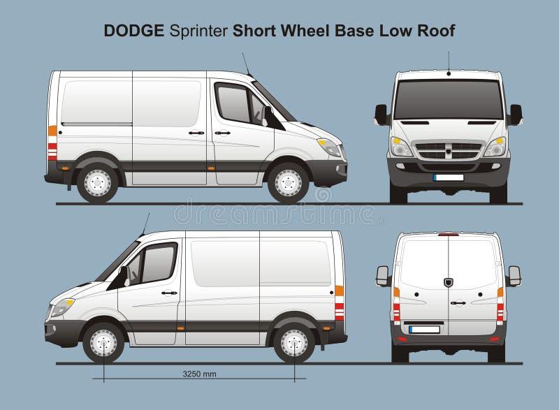 Niedriges DachLieferwagen 2010 Dodge-Sprinter-SWB stock abbildung