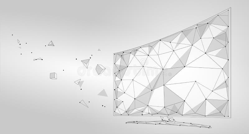 Niedriges intelligentes Fernsehschirmpolyvideo Schloss zukünftige Technologietischplattenanzeige der polygonalen virtuellen Reali stock abbildung