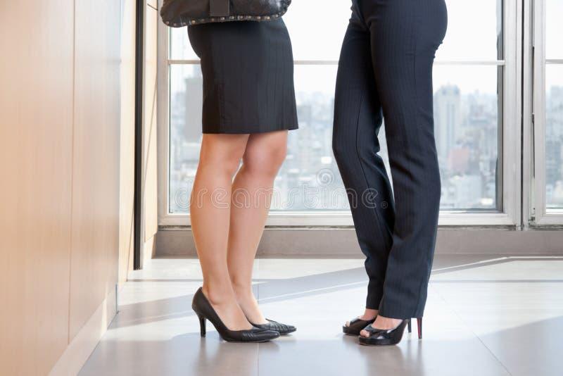 Niedriges Kapitel von zwei weiblichen Leitprogrammen in den hohen Absätzen lizenzfreie stockfotos