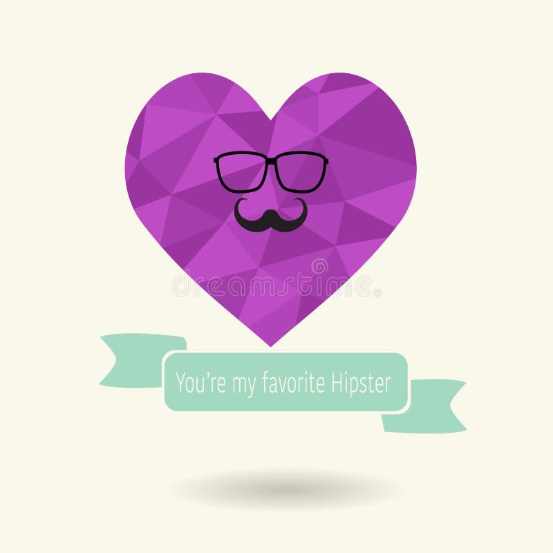Niedriges polygonales Herz in der Hippie-Art für valentine's Tag stock abbildung