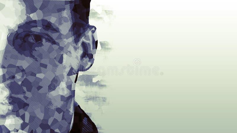 Niedriges Polyporträt eines Mannes Kybernetisches futuristisches Konzept für Ihr Design stockfotografie