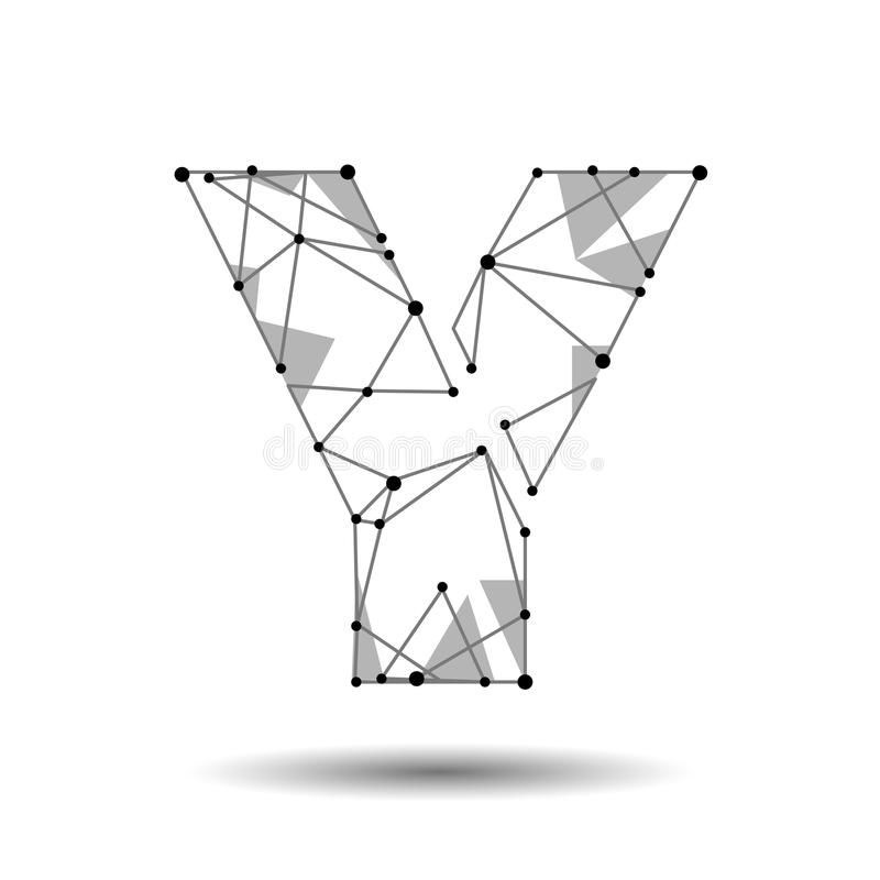 Niedriges Polyypsilon englischer Latein Polygonales Dreieck schließen Punktpunktlinie an Schwarze Strukturmodell-Gussart des Weiß vektor abbildung
