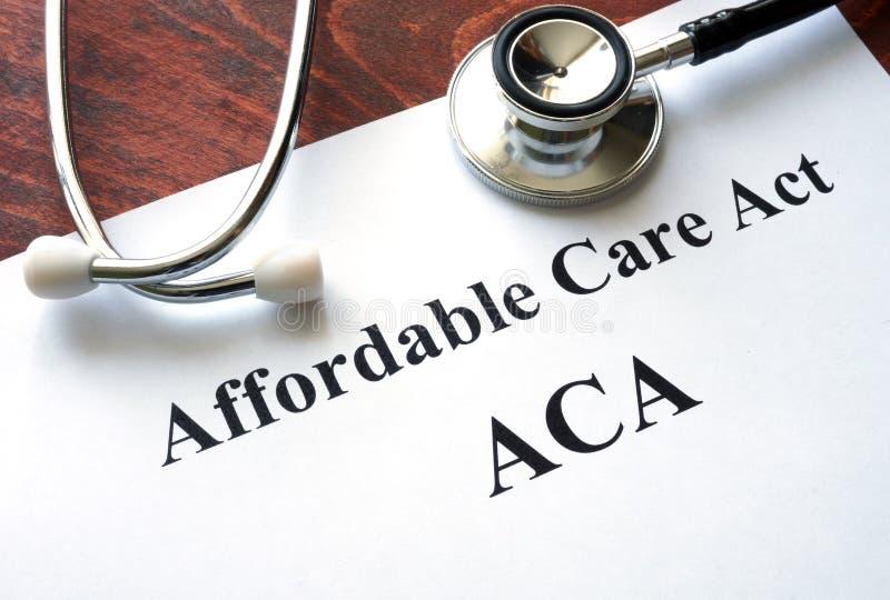 Niedrogi opieka akt ACA obraz royalty free
