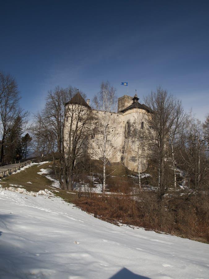 NIEDZICA,波兰2月2015 21日:在Czorsztyn的Niedzica城堡 免版税库存图片