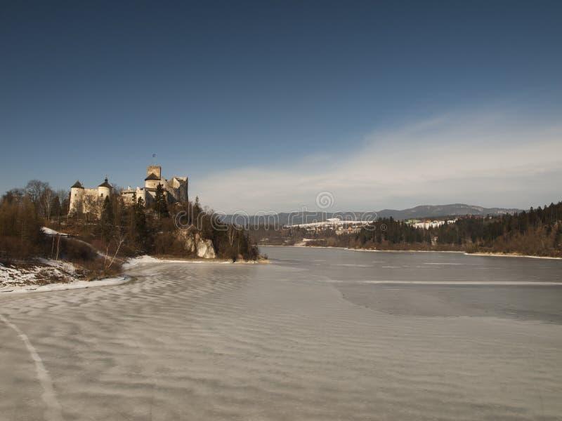 NIEDZICA,波兰2月2015 21日:在Czorsztyn的Niedzica城堡 图库摄影