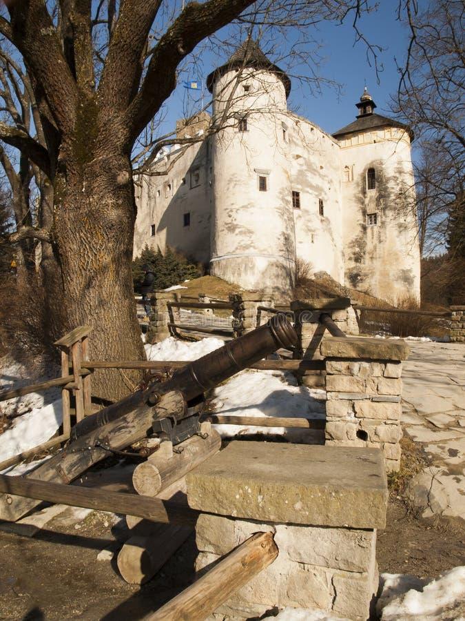 NIEDZICA,波兰2月2015 21日:在Czorsztyn的Niedzica城堡 免版税图库摄影