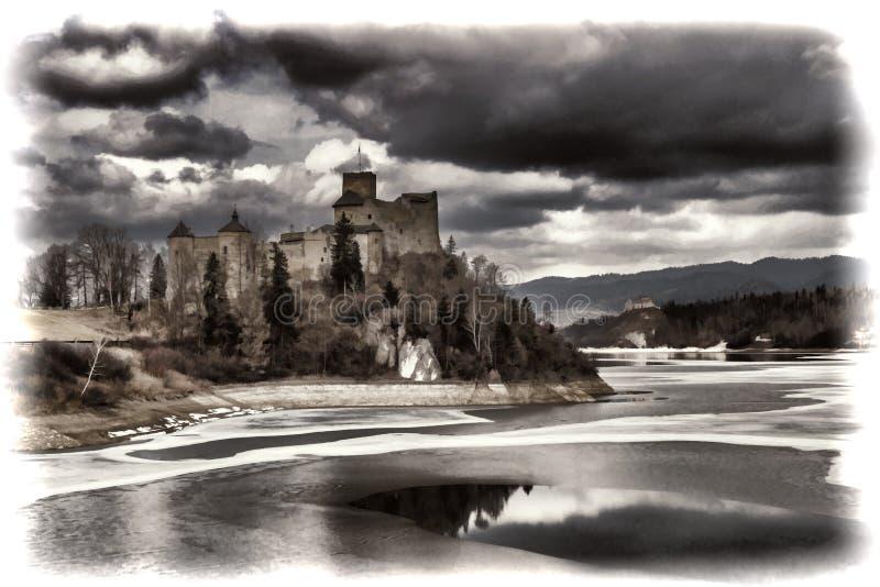 Niedzica Castle και λίμνη Czorsztynskie στην Πολωνία στοκ εικόνα