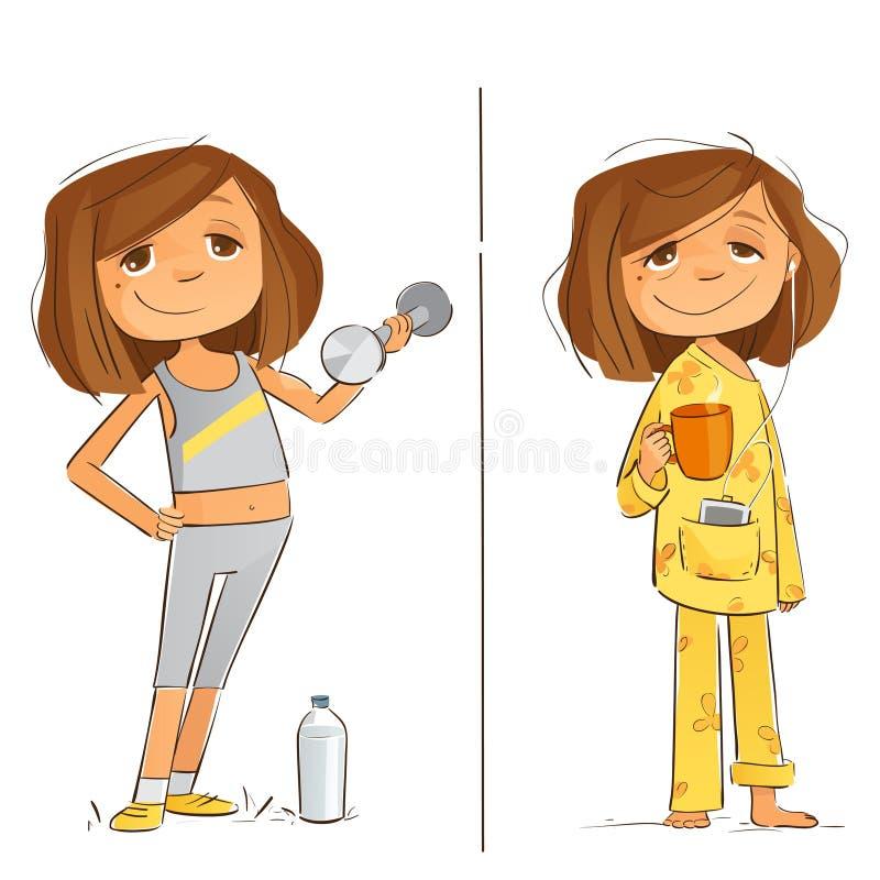 Niedziela planu ćwiczenie i dieta ilustracji