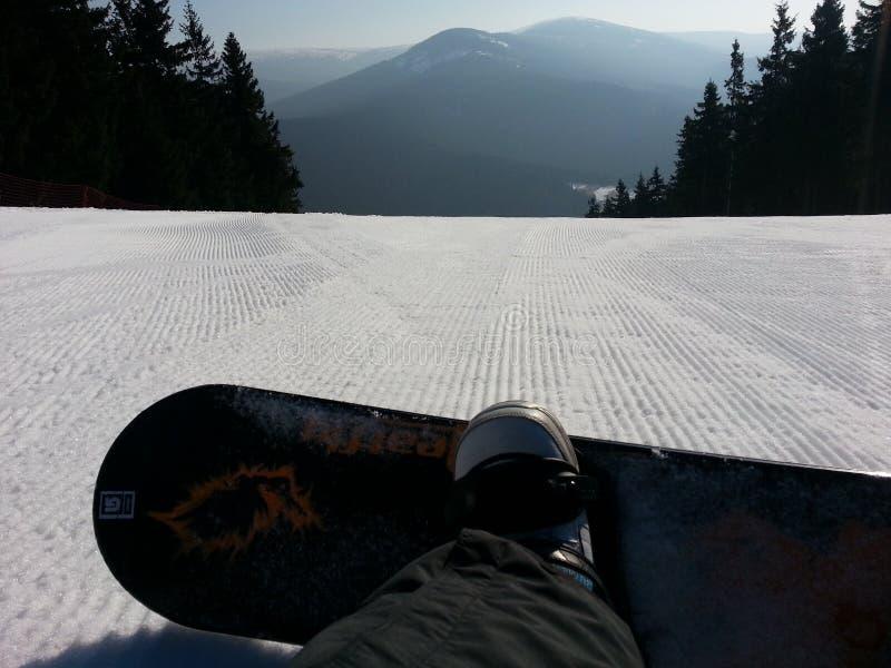 Niedziela snowboard jazda obrazy royalty free
