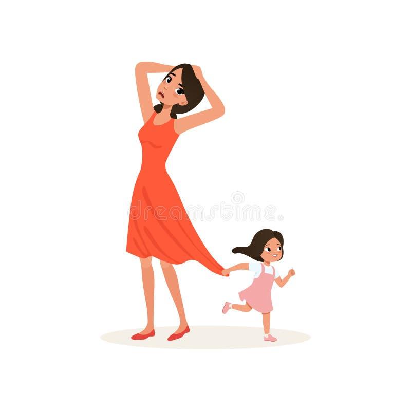 Niegrzeczna córka trzyma jej zmęczonej matki dla sukni, wychowywa stresu pojęcie, związek między dziećmi i royalty ilustracja