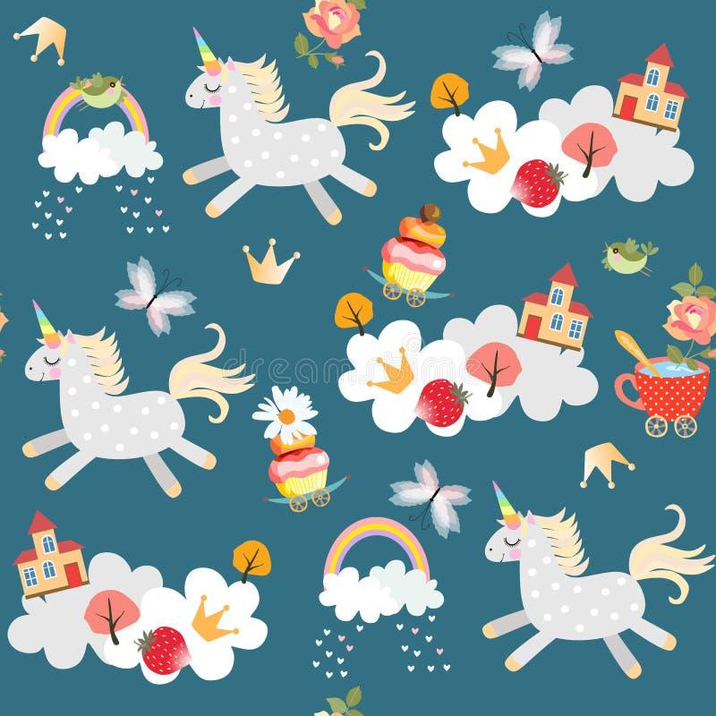 Niekończący się deseniowego witn śliczne jednorożec baraszkuje w niebie Chmury, tęcza, ptaki, motyle, kasztel, drzewa i wzrastali royalty ilustracja