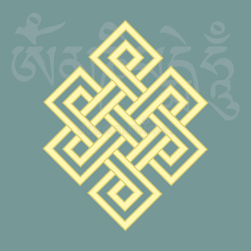 Niekończący się kępka, jeden osiem pomyślnych buddyjskich religijnych symboli/lów, ilustracja wektor