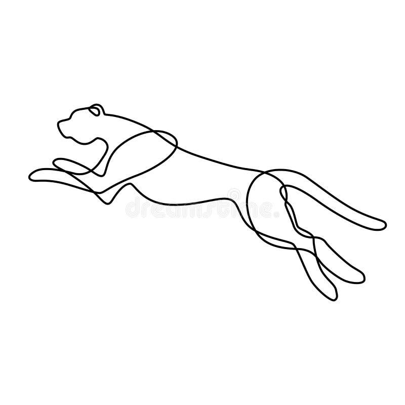 Niekończący się kreskowej sztuki ilustracja jaguar Ciągły czarny konturu rysunek na białym tle ilustracja wektor